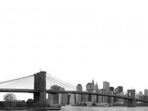Postal: El puente de Brooklyn en blanco y negro