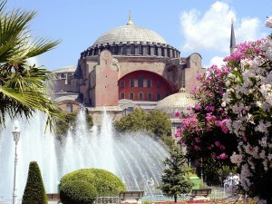 Postal: Jardines en la Mezquita Azul, Estambul