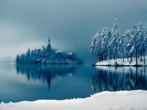 Postal: Nieve en la isla