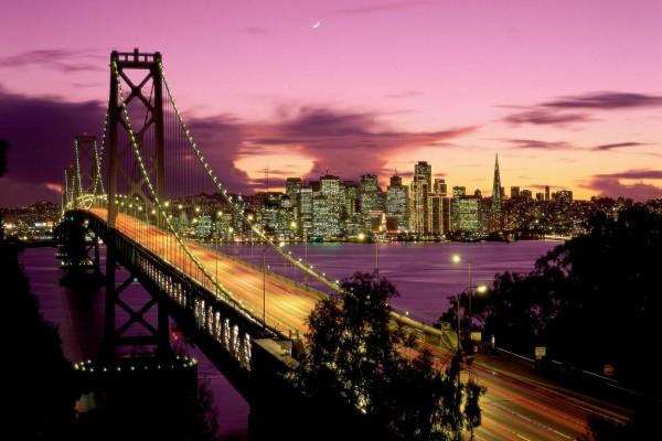 Noche en el Puente de la Bahía, San Francisco