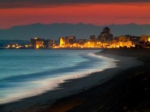 Postal: Playa al anochecer