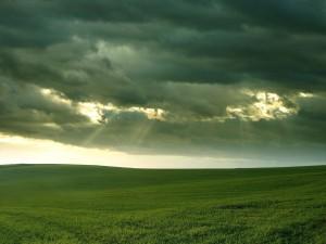 Postal: Nubes sobre la gran pradera verde
