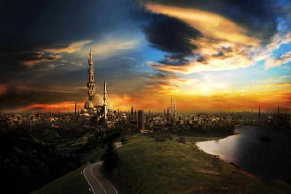 Carretera hacia una ciudad de fantasía