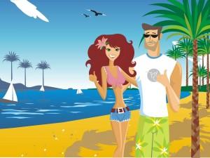 Postal: De vacaciones en la playa
