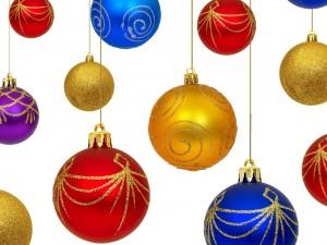 Postal: Bolas de colores para el árbol de Navidad