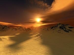 Postal: Montañas nevadas y el sol al atardecer