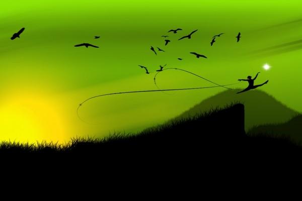 Bailarina y pájaros siguen a la luz