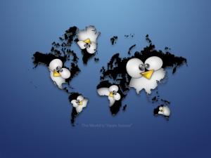 Postal: Mapa del mundo Linux