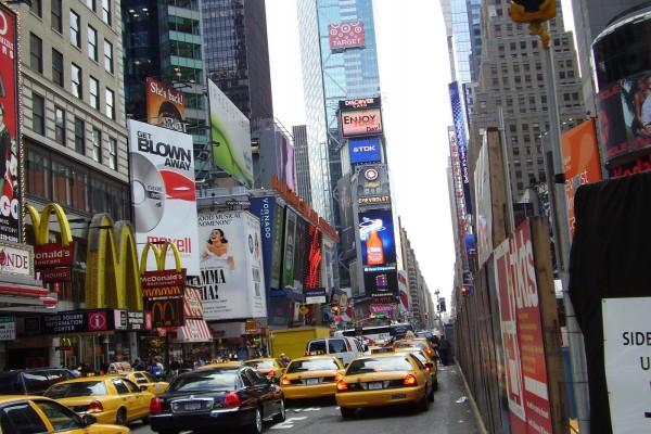 Taxis en una calle de Nueva York