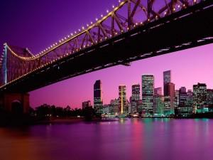 Postal: Puente Story en la noche de Brisbane (Australia)