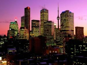 Postal: Noche en la ciudad de Toronto, Canadá