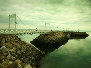 Puente blanco sobre piedras