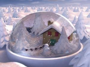 Paisaje de invierno en una bola de cristal
