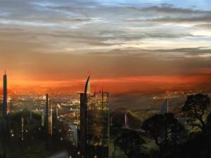 Ciudad de fantasía al anochecer
