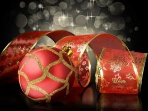 Cinta y bola roja