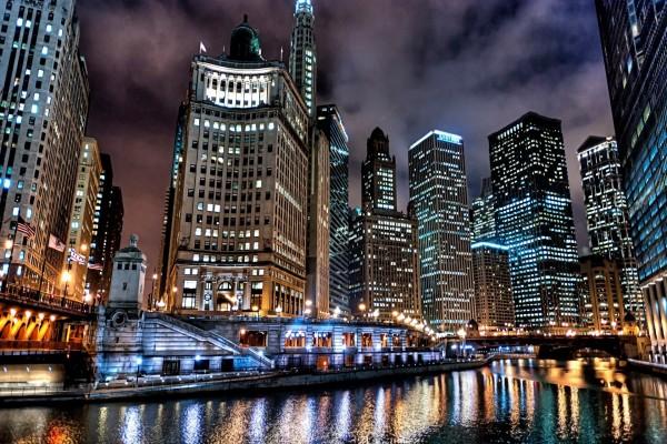 Luces en los edificios de Chicago