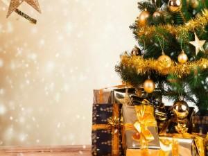 Feliz Navidad junto al arbolito