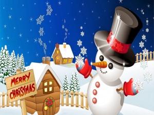 Postal: Muñeco de nieve esperando las fiestas