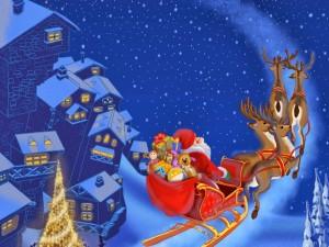 Santa Claus con sus renos repartiendo regalos