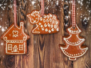 Postal: Adornos navideños con galletas de jengibre