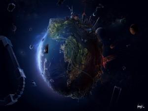 Postal: Un planeta futurista