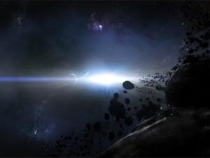 Brillante luz en el espacio