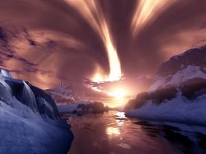 Un precioso cielo con luces en las montañas