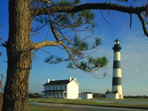 Postal: El Faro de la Isla Bodie, Carolina del Norte