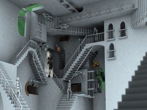 Ilusión óptica con escaleras