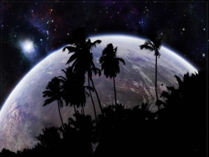 Postal: Palmeras en el espacio