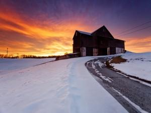 Postal: Carretera con nieve