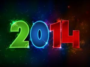 2014 iluminado con luces de colores