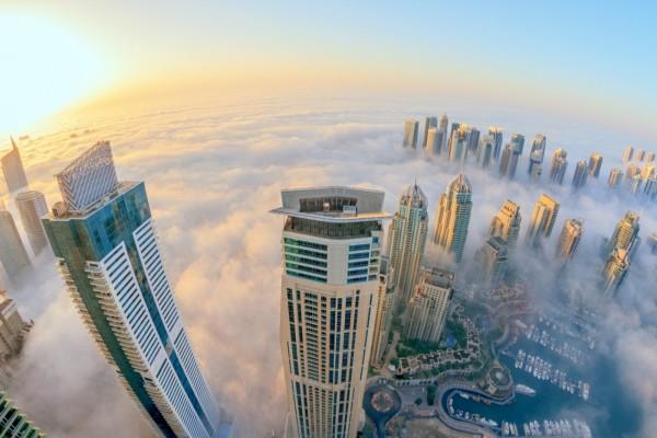 Vista desde el cielo de la ciudad de Dubai