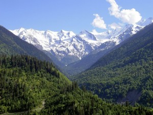 Postal: Vista de la cordillera del Cáucaso
