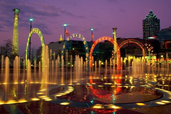 Fuente de los anillos en el Centennial Olympic Park, Atlanta