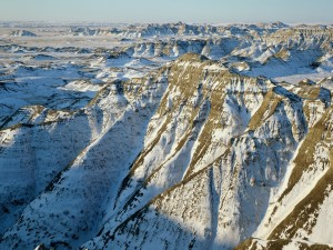 Postal: Badlands National Park en invierno, Dakota del Sur