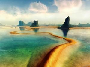 Postal: Camino en el agua