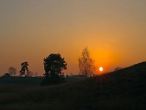 El sol anaranjado
