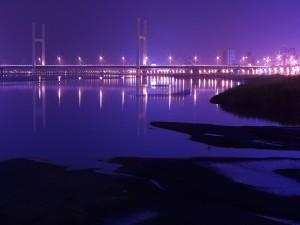 Muchas luces en el puente