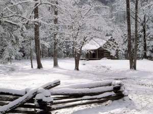 Una cabaña en la nieve, Great Smoky Mountains National Park, Tennessee