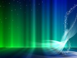 Postal: Luces verdes azuladas