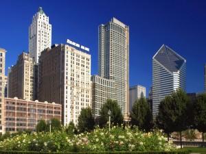Postal: Edificios de Chicago vistos desde el Parque del Milenio