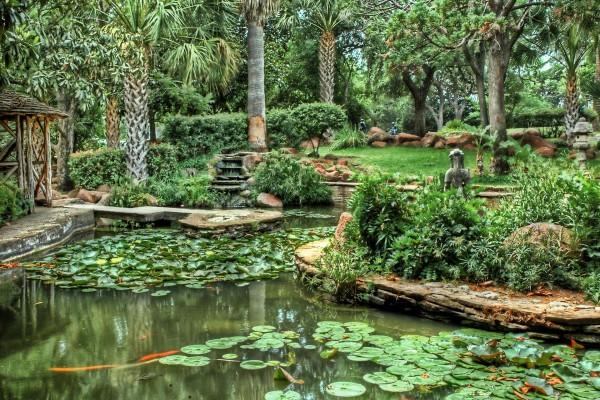 Jardín verde con nenúfares y estatuas