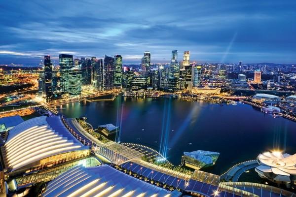 Vista aérea de la ciudad de Singapur