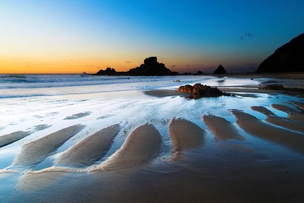Marea baja en la playa