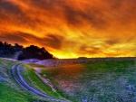 Cielo de color fuego