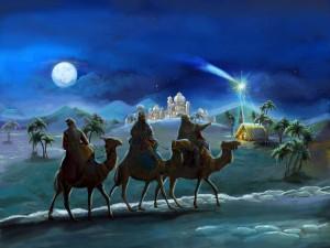Los Reyes Magos llegan a Belén siguiendo la Estrella