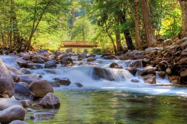 Puente de madera para cruzar el río