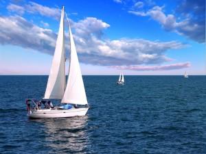 Veleros en un mar de aguas azules
