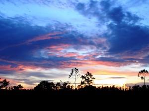 Nubes en el cielo azul del atardecer